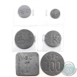 1946 set of six Hudson Bay Company BC Aluminum tokens denominations are: 1, 5, 10, 25, 50, & 100 (Gi