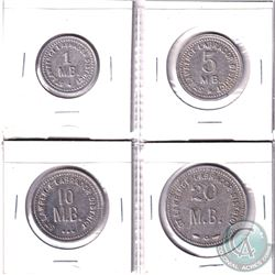 Set of four Hudson Bay Company St-Lawrence-Labrador District Tokens. Lot includes: 1, 5, 10, & 20 Ma