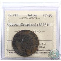 Jeton: Breton 510; Copper Original French Colonies ICCS Certified VF-20.