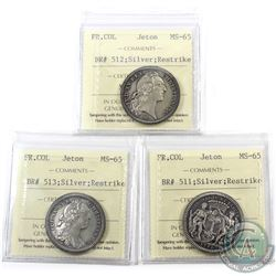 Jetons: Breton 511, 512 & 513 Silver Restrikes French Colonies ICCS Certified MS-65. 3pcs