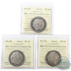Jetons: Breton 514, 515 & 519 Silver Restrikes French Colonies ICCS Certified MS-64/65. 3pcs