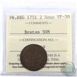 Token: 1751 French Regime 2 Sous Breton 508 ICCS Certified VF-30