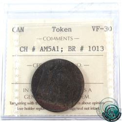 Token: AM5A1 North American 1781 Breton #1013 ICCS Certified VF-30