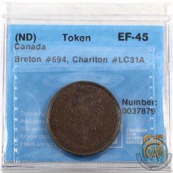 Token: LC31A Un Sou Montreal Breton 694 CCCS Certified EF-45