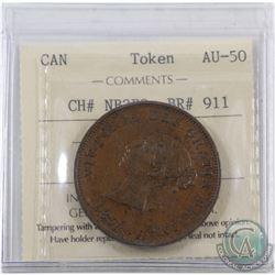 Token: NB2B2 New Brunswick One Penny ICCS Certified AU-50 Breton 911