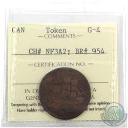 Token: NF3A2 Newfoundland 1858 Half Penny Breton 954 ICCS Certified G-4