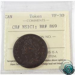 Token: NS1C1 Nova Scotia 1824 Half Penny BR# 869 ICCS Certified VF-30.