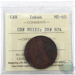 "Token: NS1E2 Nova Scotia 1840 Half Penny, Medium ""O"" Breton 874 ICCS Certified MS-60."