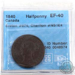 Token: NS1E4 Nova Scotia 1840 Half Penny Breton 874 CCCS Certified EF-40