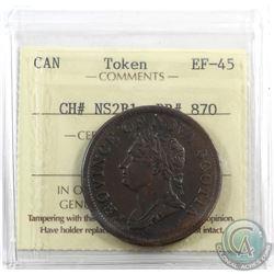 Token: NS2B1 Nova Scotia 1832 Penny Breton 870 ICCS Certified EF-45