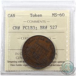 Token: PC1B3 Province of Canada 1844 Half Penny  Breton 527 ICCS Certified MS-60.
