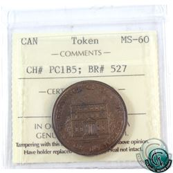 Token: PC1B5 Province of Canada 1844 Half Penny Breton 527 ICCS Certified MS-60!