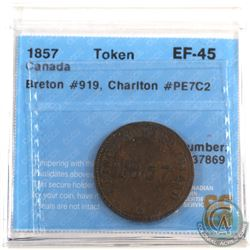 Token: PE7C2 Prince Edward Island 1857 Self Government & Free Trade Breton 919 CCCS Certified EF-45
