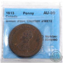 Token: WE12 1813 One Penny, Breton 984 CCCS Certified AU-50