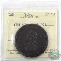 Token: WE3 Breton 974, 1813 Field Marshal Wellington One Penny Token ICCS Certified EF-40. No Wreath