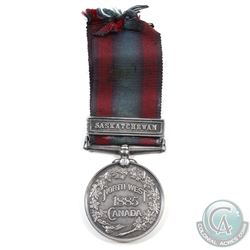 1885 North West Canada Medal with Saskatchewan Clasp and original Ribbon. Issued to Sergeant A. Pols
