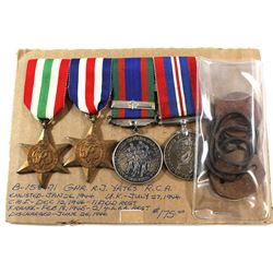 Voluntary WWII Medal, 1939-1945 War Medal, The Italy Star, The France and Germany Star & Dog Tags. G
