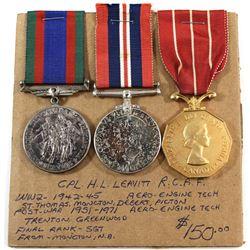Named EIIR Canadian Forces Decoration Medal, Voluntary WWII Medal & 1939-1945 War Medal. Corporal H.