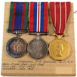 Named EIIR Canadian Forces Decoration Medal, Voluntary WWII Medal & 1939-1945 War Medal. Corporal P.