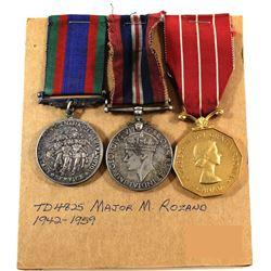 Named EIIR Canadian Forces Decoration Medal, Voluntary WWII Medal & 1939-1945 War Medal. Major M. Ro