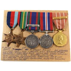Named EIIR Canadian Forces Decoration Medal, Voluntary WWII Medal, 1939-1945 War Medal, The Pacific