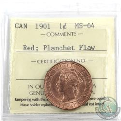 Planchet Flaw 1-cent Canada 1901 ICCS Certified MS-64 Red. Lamination Error at 6 o'clock on the obve