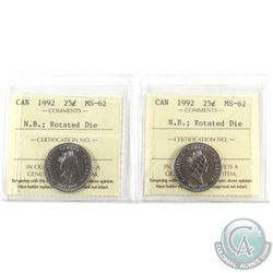 Error 25-cents 1992 Canada New Brunswick; Rotated Dies ICCS Certified MS-62 (45 degree & 135 degree
