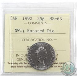 Error 25-cent 1992 Canada North West Territories; Rotated Die ICCS Certified MS-63 (315 degree rotat