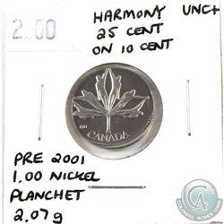 Error 25-cent 2000 Harmony Canada struck on 10ct planchet (weighs 2.07 grams) UNC+. Spectacular Erro