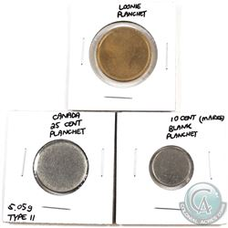 Blank planchets Canada 10-cent, 25-cent (5.05 grams, Type II) & Loon $1. 3pcs
