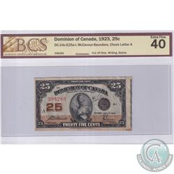 BC-24c-E25a-i 1923 Dominion of Canada 25c, McCavour-Saunders, Check Letter A, S/N: 398289, Cut Off S