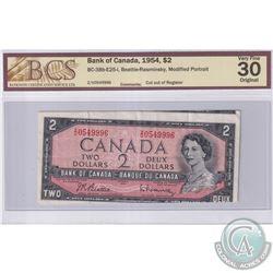 BC-38b-E25-i 1954 Bank of Canada $2, Modified Portrait, Beattie-Rasminsky, S/N: Z/U0549996, Cut Out