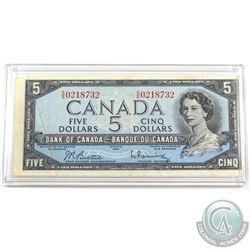 "BC-39b-E23-i 1954 Bank of Canada $5 ""Gutter Fold"" pre-print crease. Beattie-Rasminsky S/N: S/S021873"