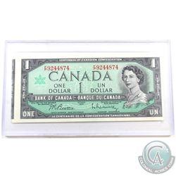 BC-45b-i-E25a-i 1967 Bank of Canada $1, cut out of register, Beattie-Rasminsky S/N: F/P9244874. Appr