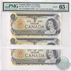 BC-46a 1973 Bank of Canada $1, Lawson-Bouey Folding and Cutting Error E24-iii. PMG Certified GUNC-65
