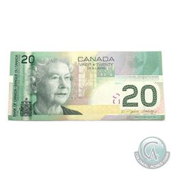 BC-64a-E8-iii 2004 Bank of Canada $20 missing security strip. S/N: AWZ0316969. VF-EF. Very scarce er