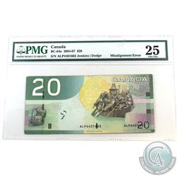 Error, BC-64a-E18-i 2004 Bank fo Canada $20 Misalignment of Serial Numbers. Serial numbers shifted t