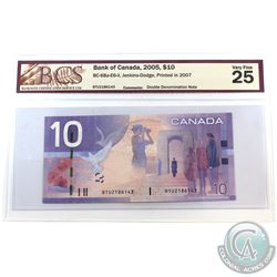 BC-68a-E6-ii 2005 Bank of Canada Double Denomination $10, Jenkins-Dodge S/N: BTU2186143. BCS Certifi