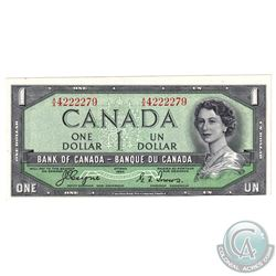 Error BC-29a Bank of Canada $1 Devil's Face Note S/N: 4222279 with Misaligned Printing - Major on Fr