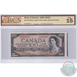 Error BC-43b-E25a-i 1954 Bank of Canada $100, Beattie-Rasminsky, S/N: B/J6963997, Cut Off Size, BCS