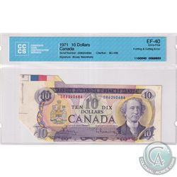 Error, BC-49b-E24-ii 1971 Bank of Canada $10 Folding & Cutting error. A visually impressive error wi