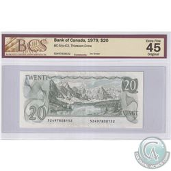 Error BC-54c-E2 1979 Bank of Canada $20, Thiessen-Crow, S/N: 52497808152, Ink Smear, BCS Certified E