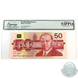 "BC-59d-E2-I 1988 Bank of Canada $50 Ink Smear on face ""Scar Face""  Knight-Dodge S/N: FMA0843197. Leg"