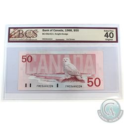 Error BC-59d-E2-i 1988 Bank of Canada $50, Knight-Dodge, S/N: FMC5644224, Ink Smear, BCS Certified E