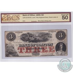 125-10-04-04 1859 Bank of Clifton $3, Fully engraved Date, Lusk S/N: 8583-A. BCS Certified AU-50.