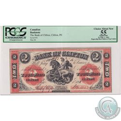 125-12-10 1861 Bank of Clifton $2, Brown S/N: 481-A. PCGS Certified Choice AU-55 (paper clip rust to