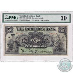 220-16-14 1925 The Dominion Bank $5, Toronto Ontario, Bogert-Austin, S/N: 395210-C PMG Certified VF-