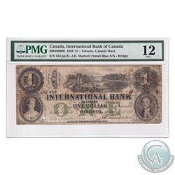 380-100-606 1858 International Bank of Canada $1, Markell, S/N: 453-B. PMG Certified F-12 (Small Blu