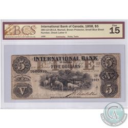 380-10-08-14 1858 International Bank of Canada $5, Brown Protector, Small Blue Sheet, Markell S/N: 1
