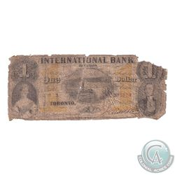 380-10-12-02 1858 International Bank of Canada $1, S/N: 3776-A, Note features Markell Falls. A rare